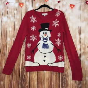 Carolyn Taylor Snowman / Snowflakes Red Sweater